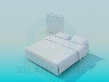 modelo 3D Cajonera y cama - escuchar