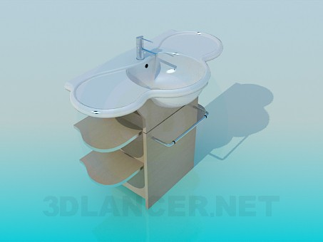 3d model Pedestal washbasin with shelves - preview