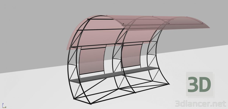 3d модель автобусная остановка – превью