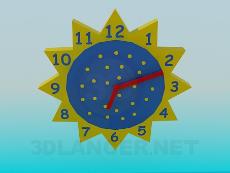 modelo 3D Reloj de pared en el vivero - escuchar