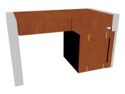 Tisch mit Platz für Kühlschrank