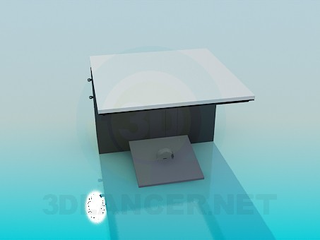 3d model Small computer table - preview