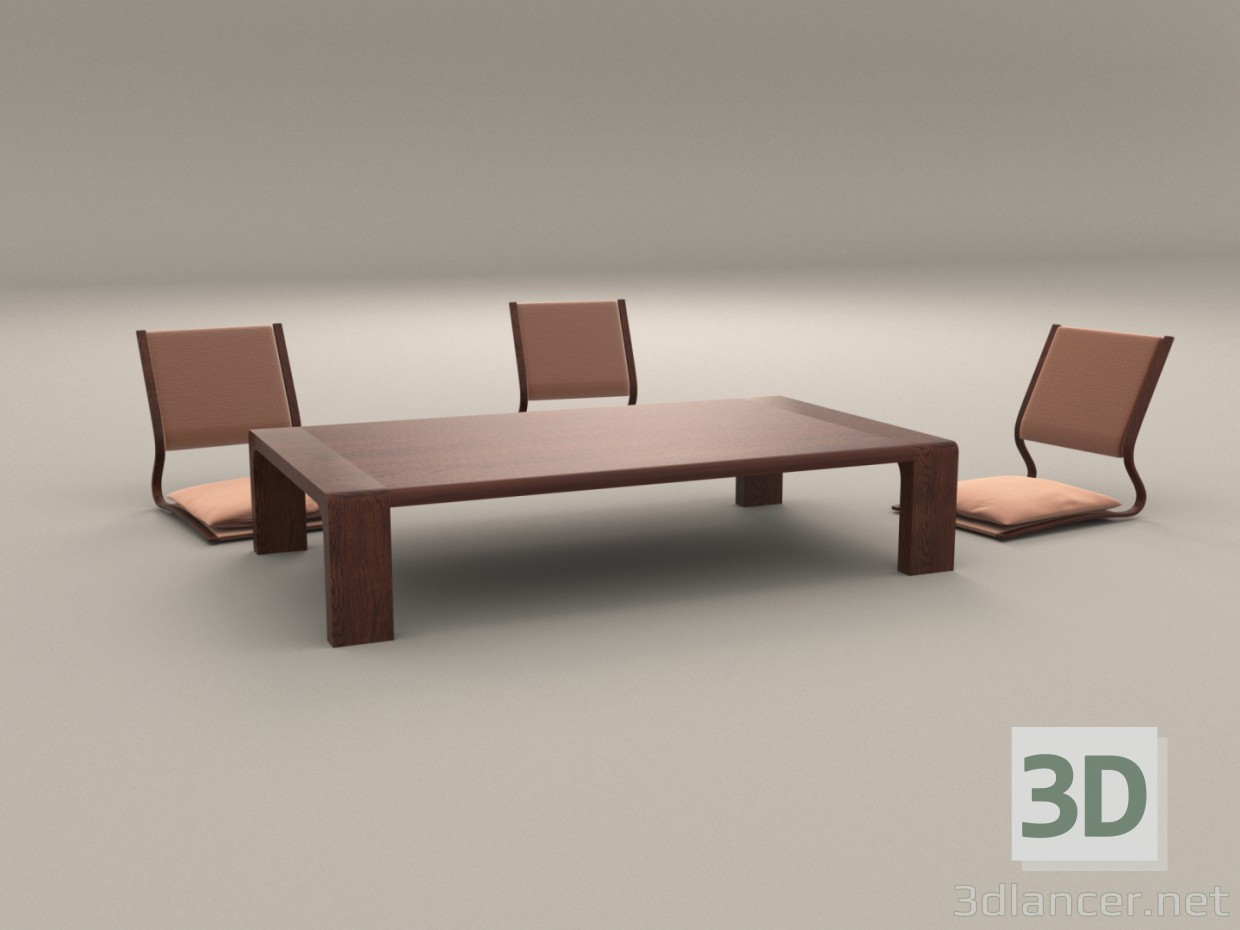 Strange 3D Model Japanese Low Table And Chairs Download Free Architecture Designs Scobabritishbridgeorg