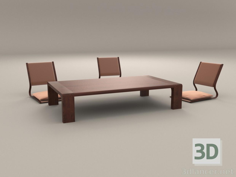 Modèle 3D Chaises et table basse japonaise
