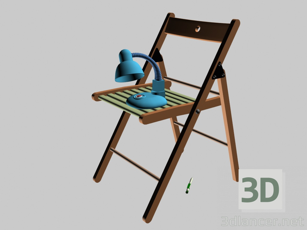 3d model Silla y lámpara - vista previa