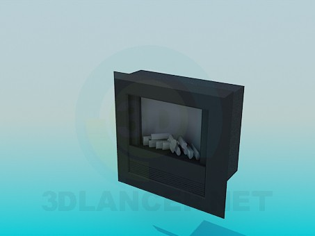 3d model Dark fireplace - preview