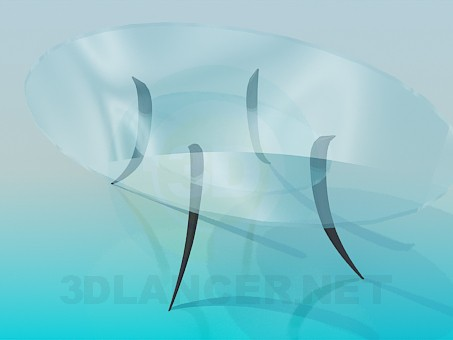3d model Glass table with shelf - preview
