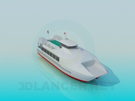 3d model Big motorboat - preview