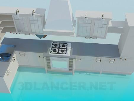 3d модель Світлий кухонний гарнітур – превью