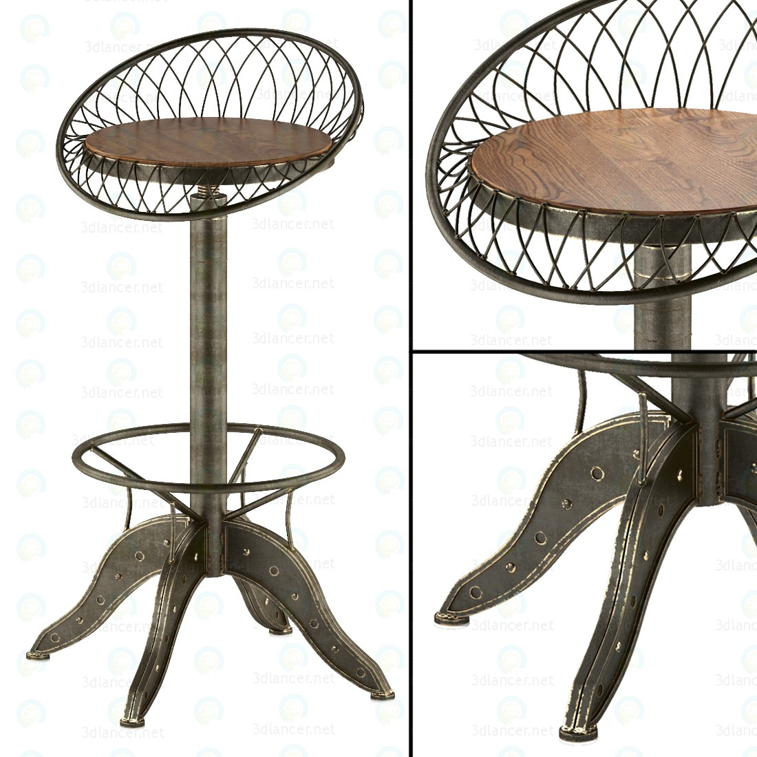 Стальной барный стул 3d модель купить - рендер