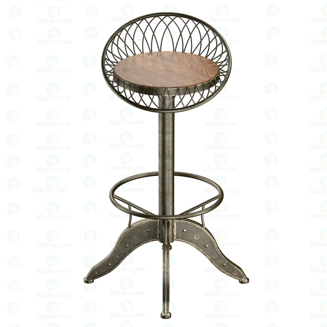 3d Steel bar stool model buy - render