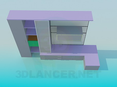 3d модель Цветная мебельная стенка – превью