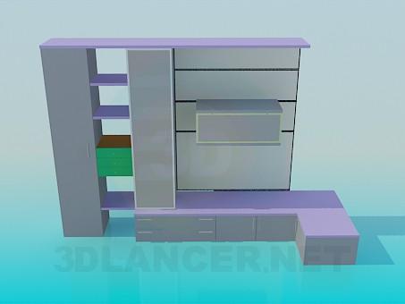 modelo 3D Unidad de pared mueble color - escuchar