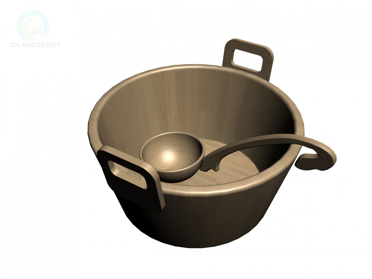 3d model Basin and ladle in sauna - preview