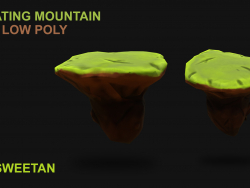 3D Floating Mountain - Low poly