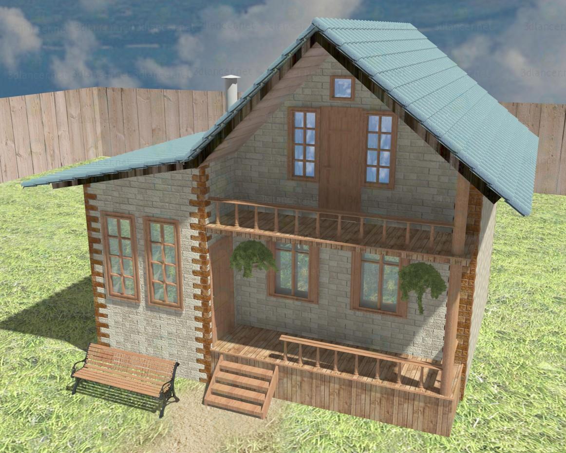 Modelo 3d Casa de campo - preview