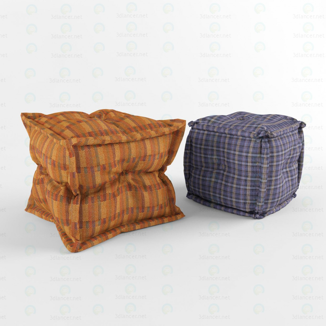 3d modeling Square Ottomans model free download