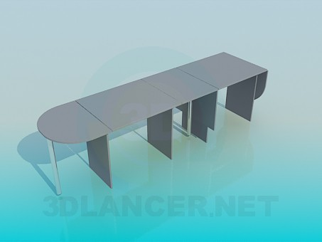 3d model Long folding table - preview