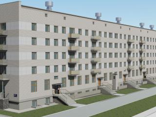 Edifício de cinco andares com uma policlínica de Chelyabinsk na ChMZ