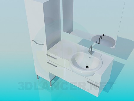 3d model Wash basin with cupboards - preview