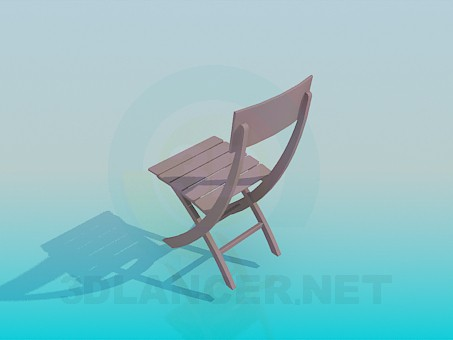 3d model Wooden stool - preview