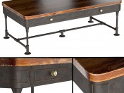 The Post Rustic Iron 2-Drawer Mango Wood Coffee Table