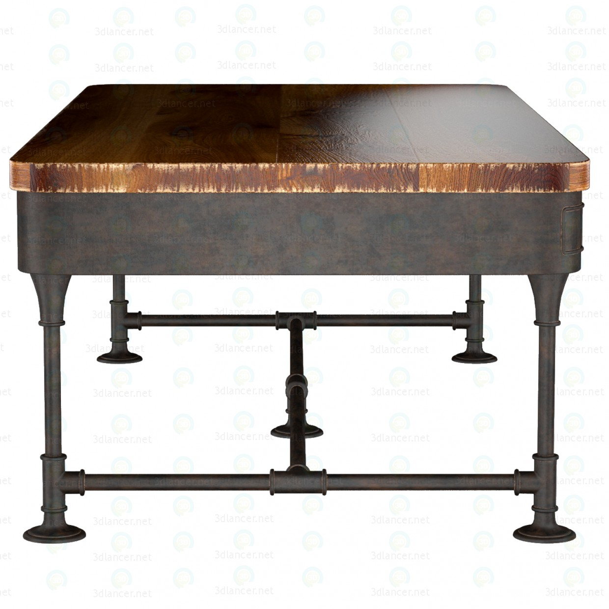 3d The Post Rustic Iron 2-Drawer Mango Wood Coffee Table model buy - render