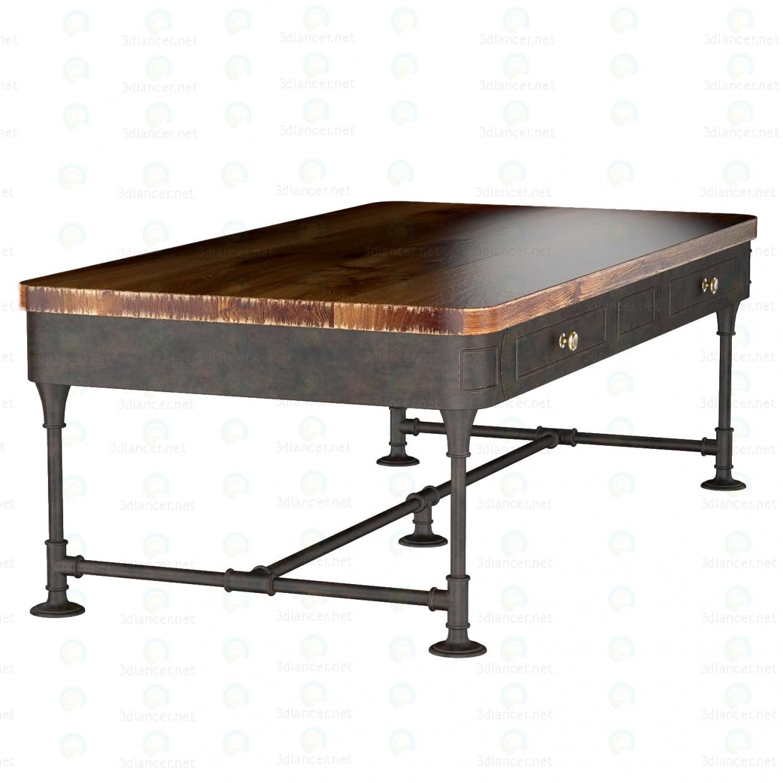 3d Деревянный журнальный столик с 2-мя выдвижными ящичками модель купить - ракурс