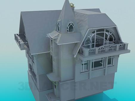 descarga gratuita de 3D modelado modelo Una casa de tres pisos
