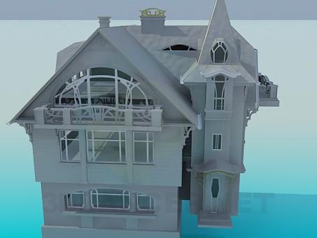 modelo 3D Una casa de tres pisos - escuchar