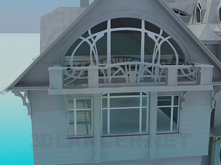 3d model A three-storey house - preview