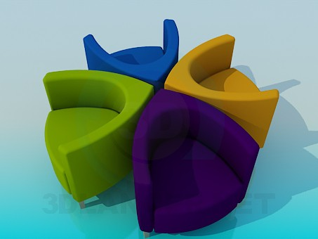 3d modeling Colorful chairs model free download