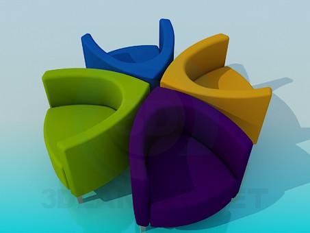 descarga gratuita de 3D modelado modelo Sillas de colores
