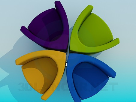 3d model Colorful chairs - preview
