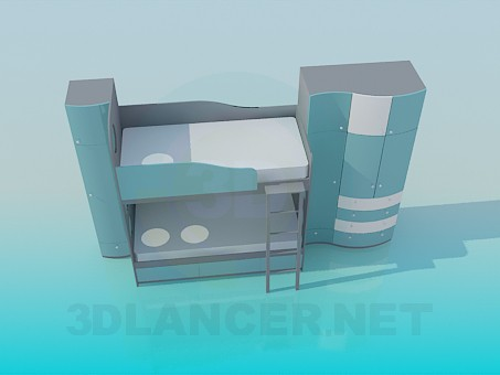 3d modeling Bunk bed with wardrobe for baby model free download