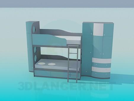 modelo 3D Litera con armario para bebé - escuchar