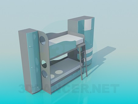 3d model Bunk bed with wardrobe for baby - preview