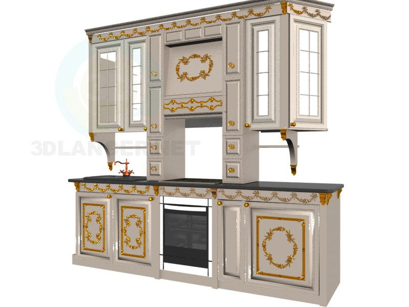 3d model kitchen in the style of Baroque - preview