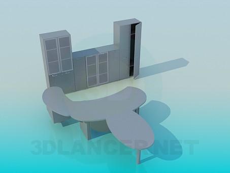 3d моделирование Офисный стол и шкафы модель скачать бесплатно