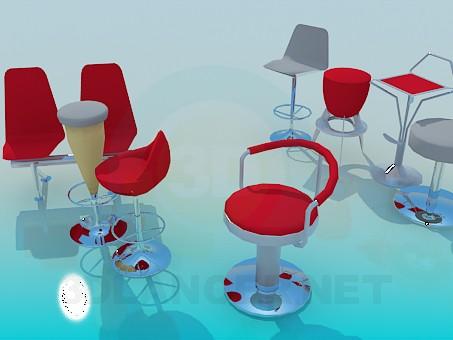 modelo 3D Sillas para bares, cafeterías - escuchar