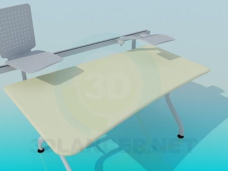 3d модель Компьютерный стол с подставками – превью
