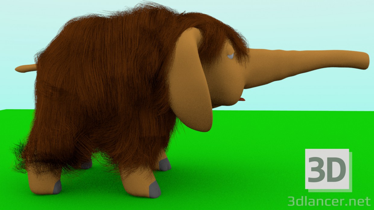 3d model little mammoth - preview