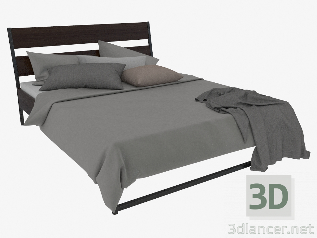 Bedombouw 180x220 Ikea.3d Model Double Bed Trisil With Bed Linen Gasp 218h165