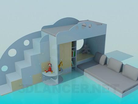 3d модель Двухярусная детская кровать – превью