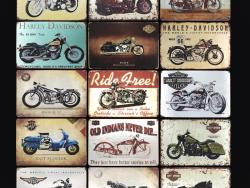 Placas de lata vintage - motocicletas, bicicletas