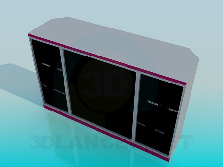 3d model Chest of drawers with cut corners - preview