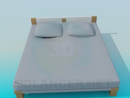 descarga gratuita de 3D modelado modelo cama con una cabeza baja de la cama