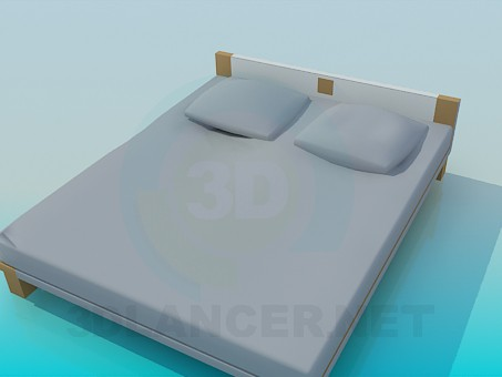 3d model bed with a low head of the bed - preview