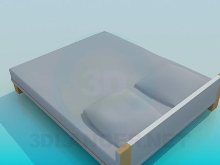 3d модель Ліжко з низьким узголів'ям – превью