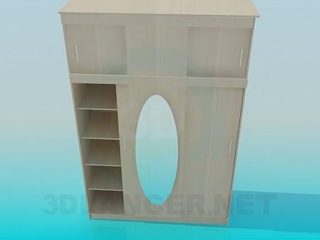 3D modeli Koridor için bir üst raf ile dolap - önizleme
